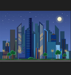 Flat style modern design of urban night city vector