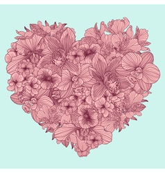 Flowers composition in a shape of heart vector image vector image
