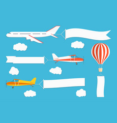 flying advertising banner planes and hot air vector image