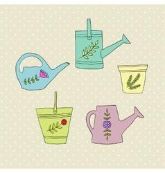 Gardening design elements vector