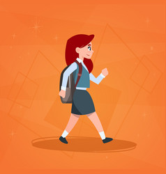 Girl pupil walking to school schoolgirl small vector