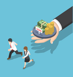 Isometric business people running away from loan vector