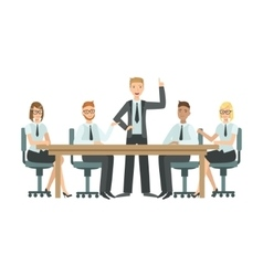 Managers sitting on meeting teamwork vector