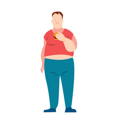 Overweight man eating fast food vector