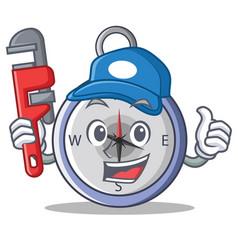 Plumber compass character cartoon style vector