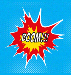 pop art comics boom speech bubble vector image vector image