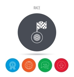 Race icon Wheel with racing flag sign vector image