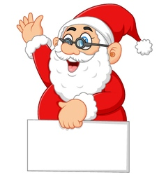 santa waving and holding blank sign vector image