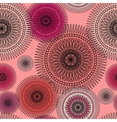 Seamless magenta pattern with oriental mandalas vector image vector image