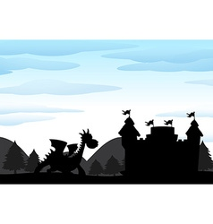Silhouette scene of castle and dragon vector