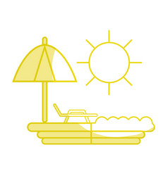 silhouette sun seat with umbrella to vacation vector image vector image