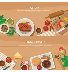 steak and hamburger banner flat design template vector image vector image