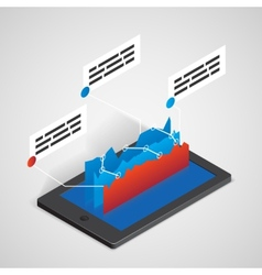 tablet PC with chart business concept vector image vector image