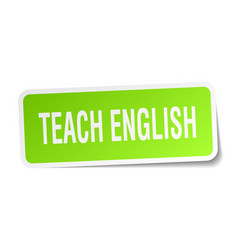 teach english square sticker on white vector image