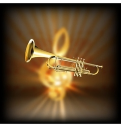 trumpet on a blurred background treble clef vector image vector image