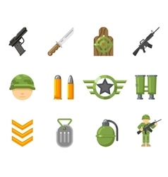 War game flat icons or army and weapon signs vector