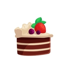 Chocolate cake with white cream and strawberry on vector image