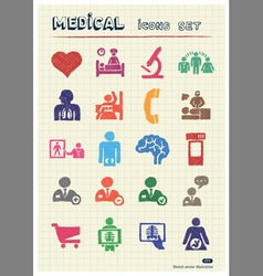Medical web icons set drawn by color pencils vector image