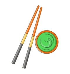 Wooden chopsticks and wasabi icon cartoon style vector