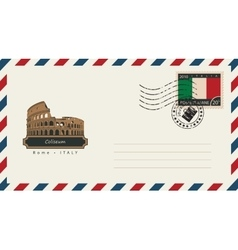 envelope with a postage stamp with Coliseum vector image