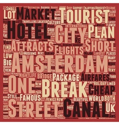 Short city breaks in amsterdam text background vector
