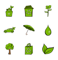 nature icons set cartoon style vector image