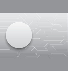 Technology future white circle button circuit vector