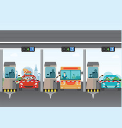 Driver cars passing through to pay road toll at vector