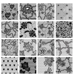 Big set of lace fabric seamless patterns vector