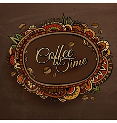 Coffee time decorative border label design vector