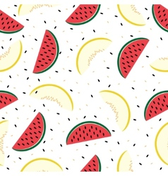 Slices of watermelon and cantaloupe seamless vector