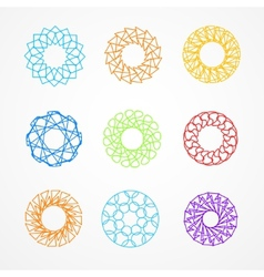 set of hypster outline emblems and badges vector image