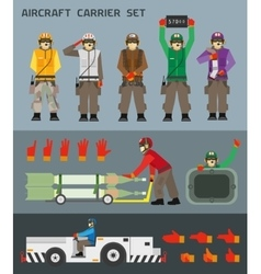 Aircraft carrier crew vector
