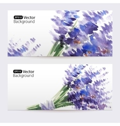 Two floral watercolor banners with lavender vector