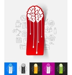 Melting paper sticker with hand drawn elements vector