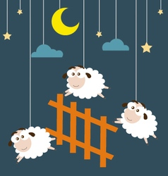 Sheep and fence hanging on the ropes with night vector