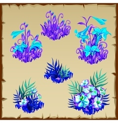 Big set fancy blue fairy flowers six items vector