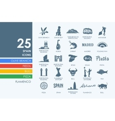 Set of spain icons vector