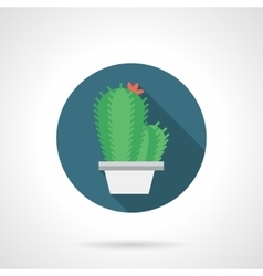 Cacti with flower round flat color icon vector