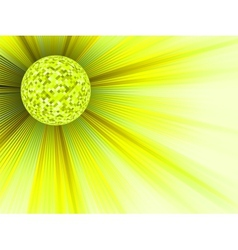 Yellow disco ball background vector image