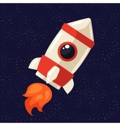 Cartoon rocket in open cosmos vector