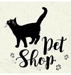 Background with black cat and lettering vector