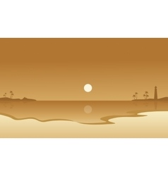 Beach and moon landscape of silhouettes vector image vector image