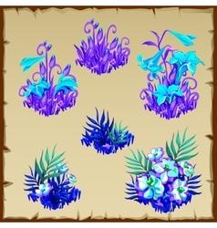 Big set fancy blue fairy flowers six items vector