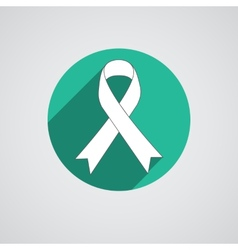 Breast cancer awareness white ribbon on white vector image