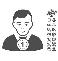 Champion icon with tools bonus vector