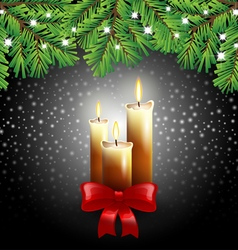 Christmas candles on black background vector