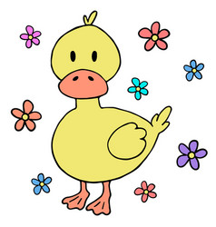 Cute baby duck cartoon design element vector