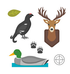 Deer head wild and bird duck silhouette mammal vector