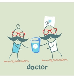 Doctor giving a pill vector
